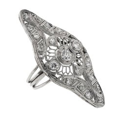 Art Deco 1.35 Carat Total Weight Cocktail Ring 14 Karat White Gold