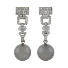 Art Deco Black Tahitian Pearl and Diamond Drop Earrings 1.00 Total Carat
