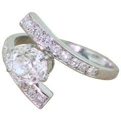 Art Deco 1.36 Carat Old Mine Cut Diamond Platinum Engagement Ring