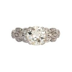 Art Deco 1.37 Carat Old European Cut Diamond Platinum Engagement Ring