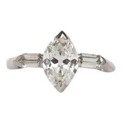Art Deco 1.38 Carat GIA Antique Marquise Cut Platinum Solitaire Engagement Ring