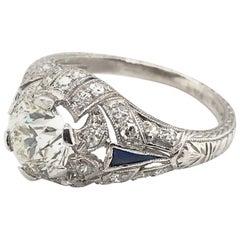 Art Deco 1.39 Carat Diamond and Sapphire Engagement Ring