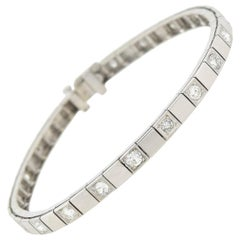Art Deco 14 Karat Alternating 2 Total Carat Diamond Link Bracelet