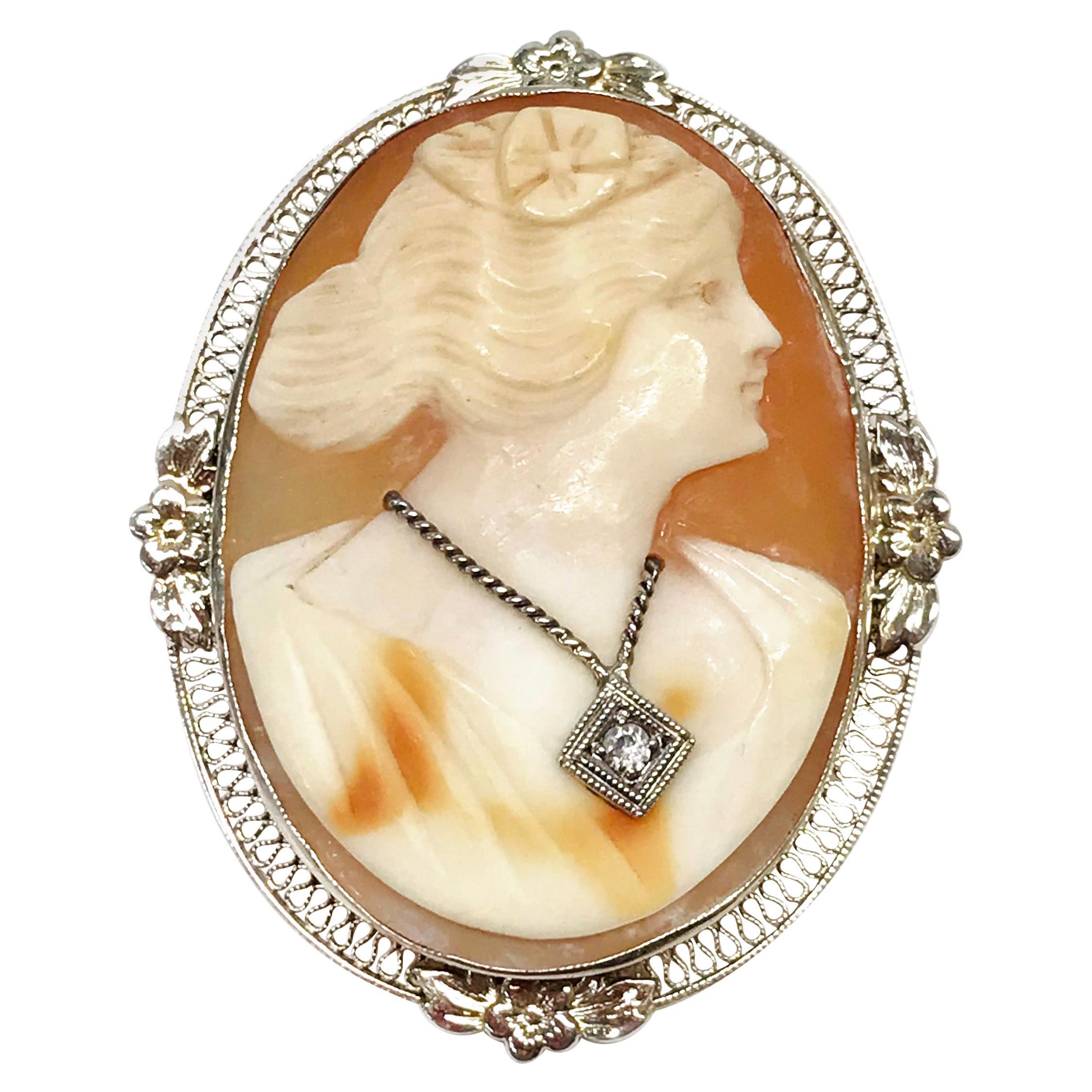 Art Deco 14 Karat Cameo Diamond Pendant Brooch