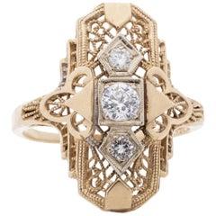 Art Deco 14 Karat Gold Filigree Carved Three-Stone Shield Ring, circa 1930s