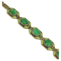 Art Deco 14 Karat Gold Jadeite and Enamel Bracelet