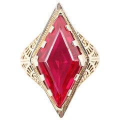 Art Deco 14 Karat Gold Lozenge Kite Cut 5.25 Carat Synthetic Ruby Filigree Ring