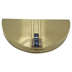 Art Deco 14 Karat Gold Sapphire and Diamond Half Moon French Compact Snuff Box