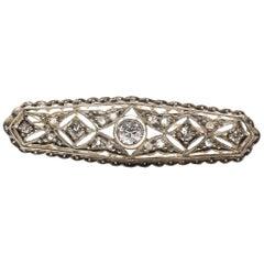 Art Deco 14 Karat Gold & Sterling Silver Top Old European Cut Diamond Pin Brooch