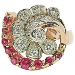 Art Deco 14 Karat Rose Gold with Ruby and Diamond Ring