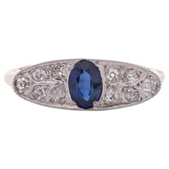 Art Deco 14 Karat Two-Tone Sapphire and Diamond Pave Vintage Statement Ring