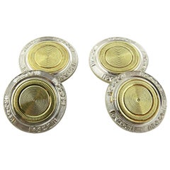 Art Deco 14 Karat White and Gold Two-Toned Engine Turned Cufflinks