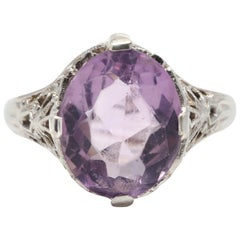 Art Deco 14 Karat White Gold Amethyst Filigree Floral Ring