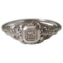 Art Deco 14 Karat White Gold and Diamond Ring