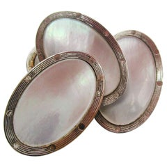 Art Deco 14 Karat White Gold and Mother of Pearl Cufflinks