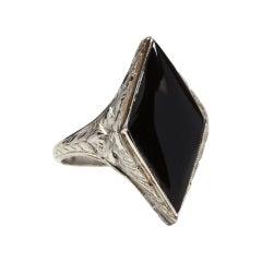 Art Deco 14 Karat White Gold Black Onyx Ring