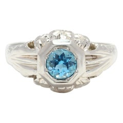 Art Deco 14 Karat White Gold Blue Topaz Floral Engagement Ring