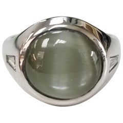"Art Deco 14 Karat White Gold Chrysoberyl ""Cats Eye"" Baguette Diamond Ring"