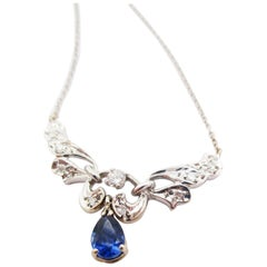 14 Karat White Gold Diamond and Blue Sapphire Necklace