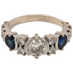 Art Deco 14 Karat White Gold Diamond and Sapphire Cocktail Ring