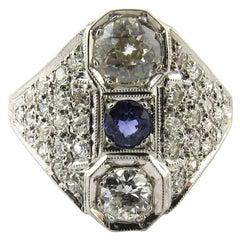 Art Deco 14 Karat White Gold Diamond and Sapphire Filigree Dinner Ring