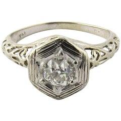 Art Deco 14 Karat White Gold Diamond Ring