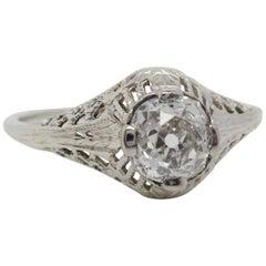 Art Deco 14 Karat White Gold Filigree Old Mine Cut Diamond Engagement Ring
