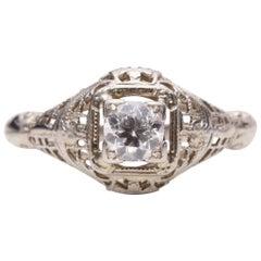Art Deco 14 Karat White Gold Filigree Vintage Solitaire Diamond Ring
