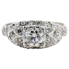 Art Deco 14 Karat White Gold Old European Cut Diamond Engagement Ring