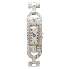 Art Deco Style 14 Karat White Gold Platinum Diamond Ladies Swiss Wristwatch