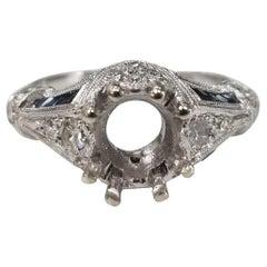 Art Deco 14 Karat with Assent Diamonds-Sapphires Semi Mount