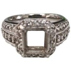 Art Deco 14 Karat with Diamonds Ring Semi Mount