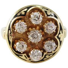 Art Deco 14 Karat Yellow Gold Black Enamel Diamond Cluster Ring