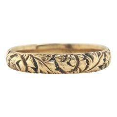 Art Deco 14 Karat Yellow Gold Leaves Floral Wedding Band Ring