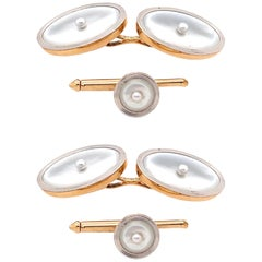 Art Deco Style 14 Karat Yellow Gold Mother of Pearl Cufflinks and Lapel Pin Set