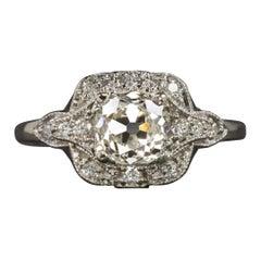 Art Deco 1.40 Carat Old Mine Diamond White Gold Solitaire Ring