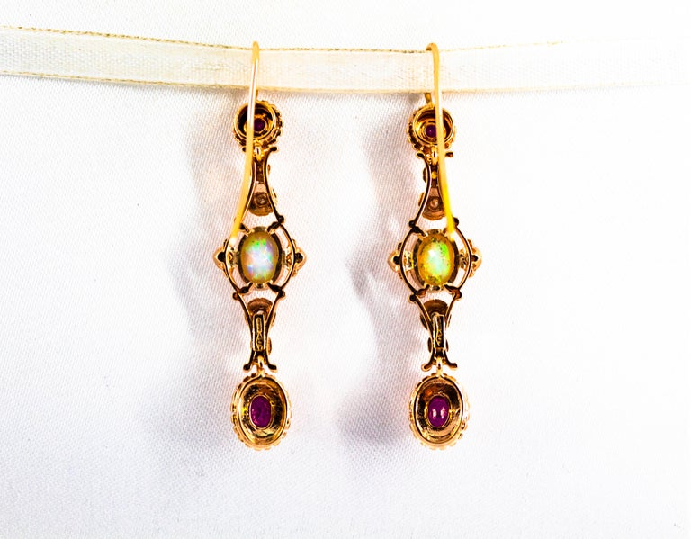 Art Deco Style 1.40 Carat Opal 1.50 Carat Diamond Ruby Yellow Gold Earrings For Sale 5