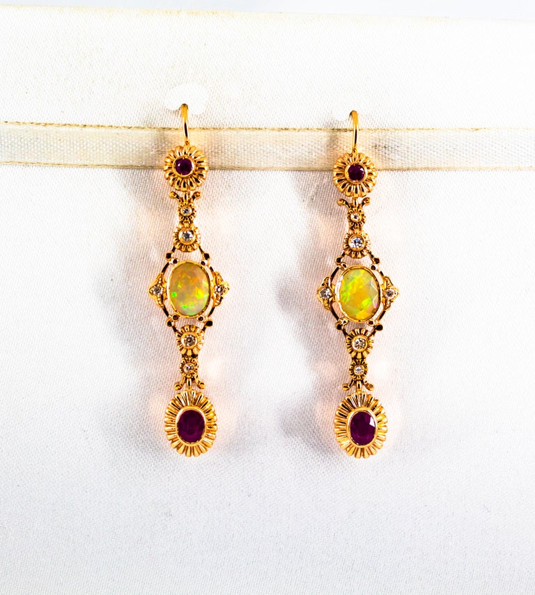 Cabochon Art Deco Style 1.40 Carat Opal 1.50 Carat Diamond Ruby Yellow Gold Earrings For Sale