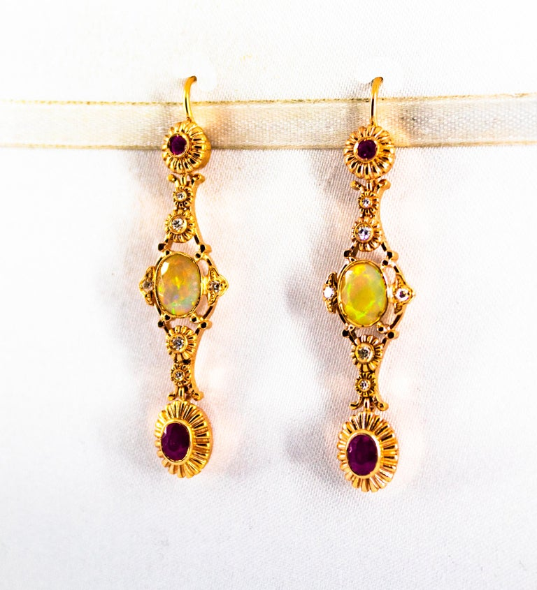 Art Deco Style 1.40 Carat Opal 1.50 Carat Diamond Ruby Yellow Gold Earrings In New Condition For Sale In Naples, IT