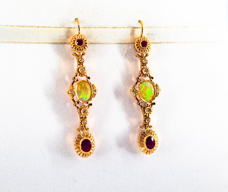 Women's or Men's Art Deco Style 1.40 Carat Opal 1.50 Carat Diamond Ruby Yellow Gold Earrings For Sale