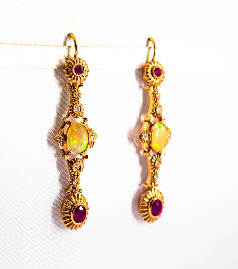 Art Deco Style 1.40 Carat Opal 1.50 Carat Diamond Ruby Yellow Gold Earrings For Sale 1