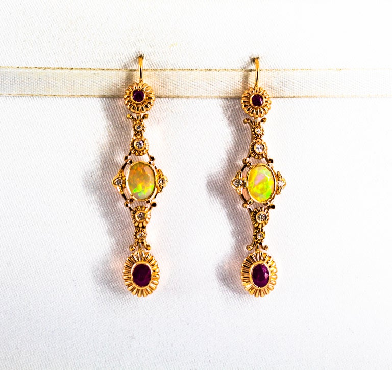 Art Deco Style 1.40 Carat Opal 1.50 Carat Diamond Ruby Yellow Gold Earrings For Sale 4