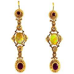 Art Deco 1.40 Carat Opal 1.50 Carat White Diamond Ruby Yellow Gold Drop Earrings
