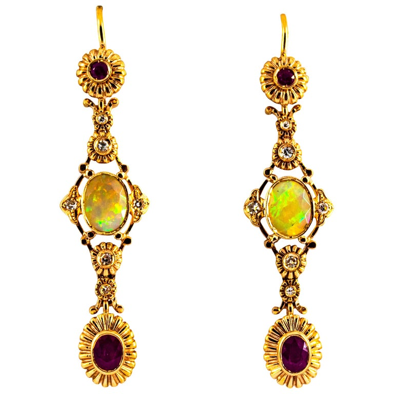 Art Deco Style 1.40 Carat Opal 1.50 Carat Diamond Ruby Yellow Gold Earrings For Sale