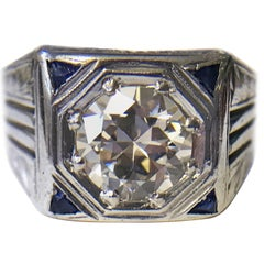 Art Deco 1.41 Carat Diamond and Sapphire White Gold Ring