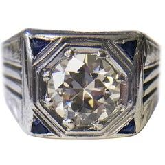Art Deco 1.41 Carat Diamond Sapphire Ring