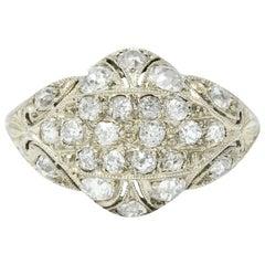 Art Deco 1.42 Carat Diamond 18 Karat White Gold Dinner Ring