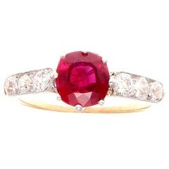 Art Deco 1.44 Carat Burma Ruby Diamond Platinum Gold Engagement Ring