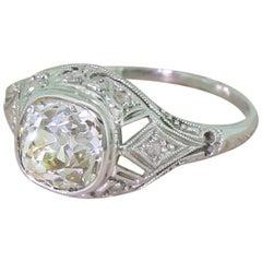 Art Deco 1.44 Carat Old Mine Cut Diamond Platinum Engagement Ring