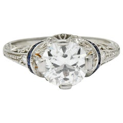 Art Deco 1.45 Carat Diamond Sapphire Platinum Engagement Ring